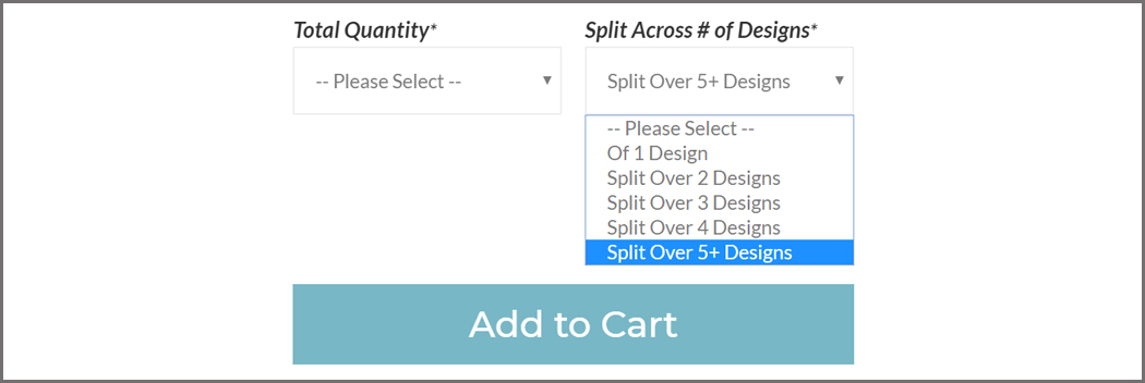 A screenshot of our website illustrating the dropdown menu where customers may choose to split their print across multiple designs