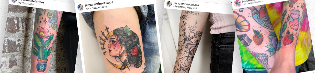 A collection of Jessica Valentine's tattoos