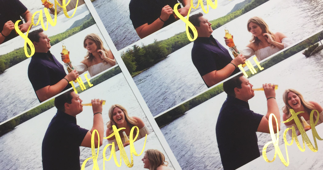 Photo-style wedding save the dates, complete with gold foil lettering set over a photo-strip style design of the happy couple beside a lake
